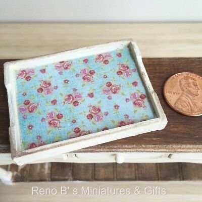 Dollhouse miniature accessories 1:12 Shabby Chic Wooden Tray white