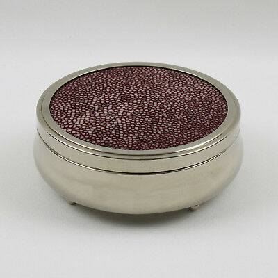 Vintage French Art Deco Covered Round Box Chrome and Red Shagreen