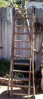 Antique 10 Ft Wooden Extension Ladder Library Grocery Cast Iron Locks Vintage