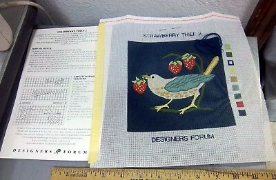 printed Needlepoint canvas Strawberry Thief bird by Designers Forum no thread