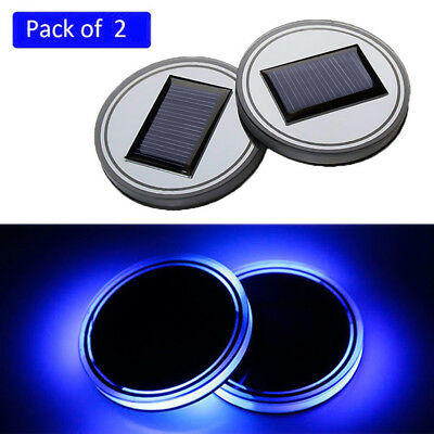 2PC Solar Cup Pad Car Accessories LED Light Cover Interior Decoration Lights XS