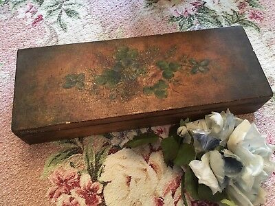 Antique Wood Glove Box Hand Painted Pink Roses Floral 1920s #F