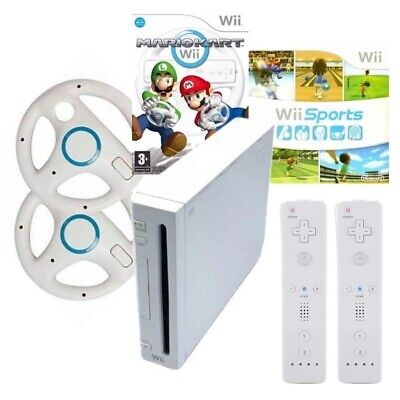 Nintendo Wii Console Bundle W Mario Kart, Wii Sports, Wii Play & 2 Controllers