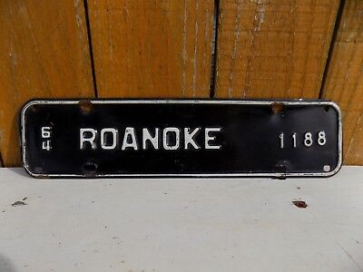 1964  Roanoke Virginia City Front License Tag Plate