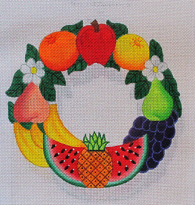 Beau Geste Della Robbia Fruit Wreath with Stitch Guide Hand P Needlepoint Canvas