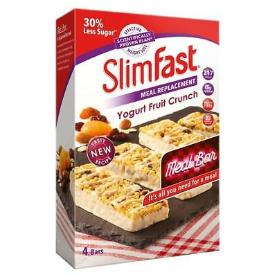 Slimfast Yoghurt Fruit Crunch Meal Replacement Bars 16X 60G Protein 16g Vitamins
