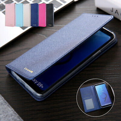 For Samsung Galaxy S8 S9 Case Deluxe Magnet Silk Leather Wallet Card Stand Cover