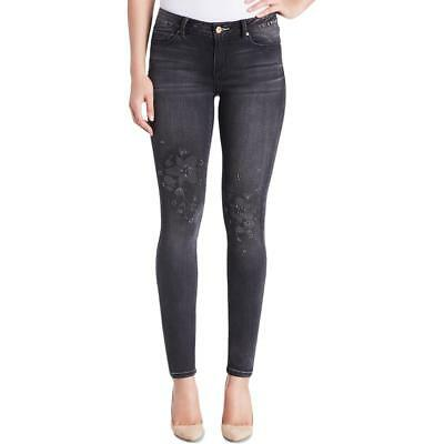 Vintage America Womens Boho Embellished Mid-Rise Slimming Skinny Jeans BHFO 5109