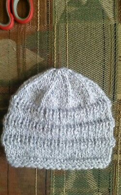 Hand knitted baby hat ,size newborn ,grey marl  color, for girl  or boy