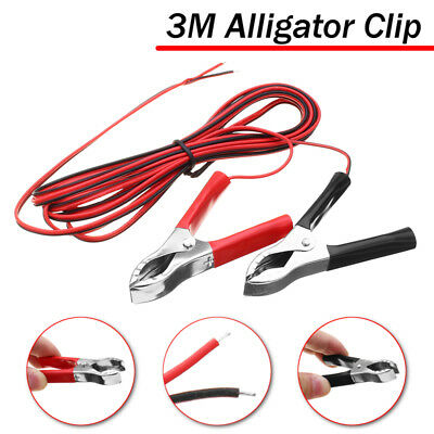 3M 3A Alligator Clip Cable Wiring Red+Black For Battery Chargers Car Solar Panel