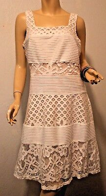 Lace Dress Textured XL Nude White Knee-length Skater Style Floral Geometric