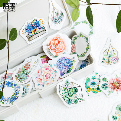46pcs Kawaii Korean Japanese Journal Paper Diary Flower Stickers DIY Stickers CN