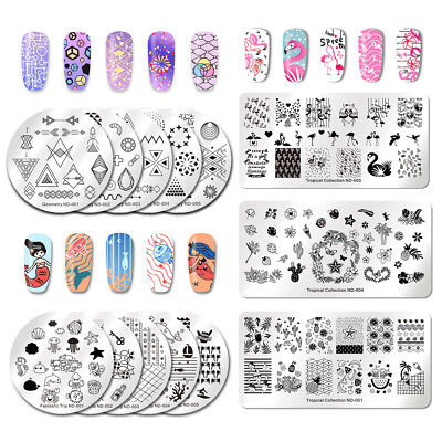 NICOLE DIARY Nail Art Stamping Plates Tropical Image Templates  Tools