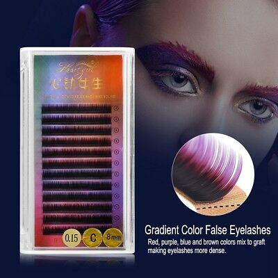 3Size Colorful False Eyelash Extension Gradient Color Fake Eye Lashes Individual