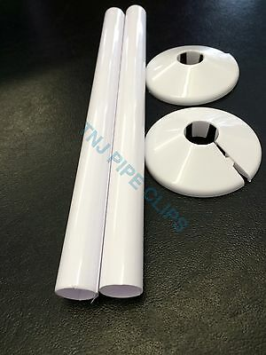 Q2 - 15mm Radiator Pipe Cover & Collar WHITE 200mm Long - Snappit - Radsnaps Rad