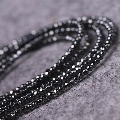 1pcs 4MM Hematite Faceted Gemstone Loose bead 15 inches Spacer Charm Opaque DIY