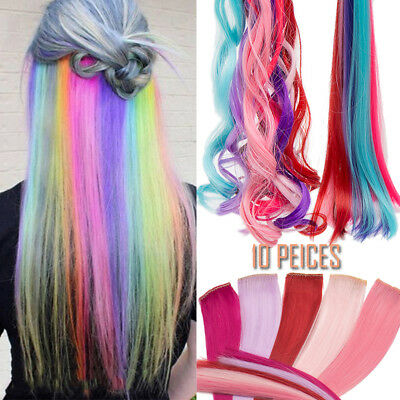 """AU 22"""" coloured Clip in hair extensions multi color highlight 10 peices HB50"""