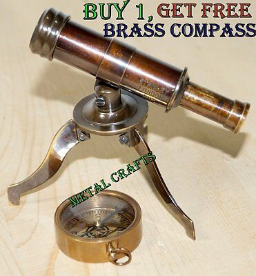 British Vintage Brass Telescope Stand Collectible Antique Navy Tabletop Decor MC