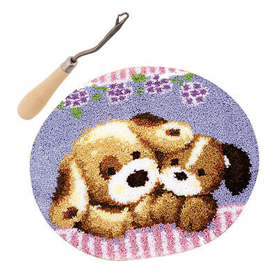 DIY Two Dogs Latch Hook Rug Completed Kit for Adults with Wood Crochet Hook