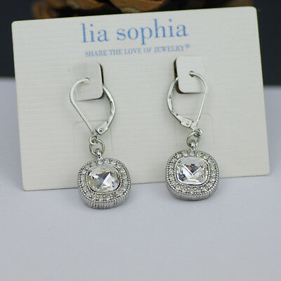 Lia Sophia Jewelry Bella Donna Simple Silver Tone Faceted Cut Crystal Earrings