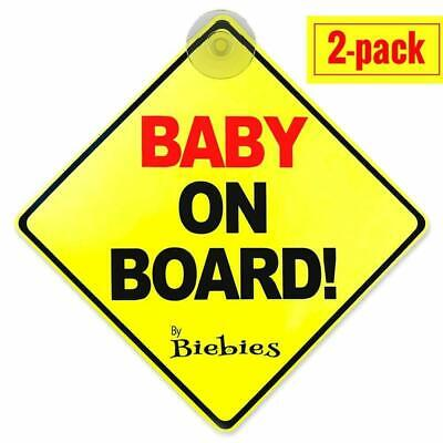2 Pack Baby on Board Car Sign Suction Cup Baby Safety Sign in Your Car / Vehicle