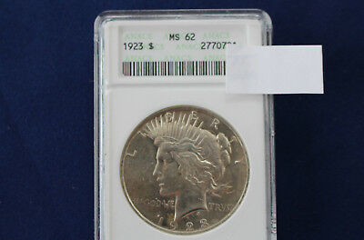 1923 Peace Silver Dollar Brilliant Uncirculated ANACS MS62 M1371