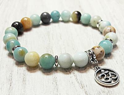 Buddhism Handmade 8mm Natural amazonite Stone Bracelets Bless energy Healing