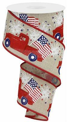 10 YARDS ~ Red White Beige Blue Vintage Truck American Flag Ribbon