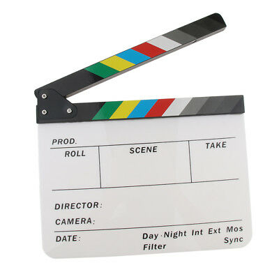 Movie Props Clapper Board TV Microfilm Clapboard with Wooden Slat Colorful