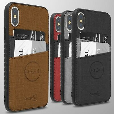 For Apple iPhone XS / X / 10S / 10 Case with Card Holder Metal Plate Phone Cover