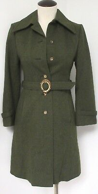 680ff1e11f1 Amazing Vintage Forest Green Wool Loden Trench Coat Belted W Red Plaid  Lining Xs
