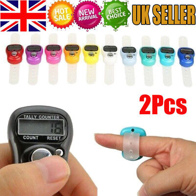 2 x Digital Finger Ring Tally Counter Hand Held Knitting Row counter Clicker