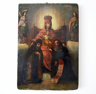 Fine 17Th Century Russian Old Master Symbolic Icon Oil Painting + Cyrillic