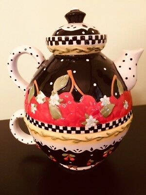 Mary Engelbreit Teapot for One Classic Black Red Cherry Cherries Brand New