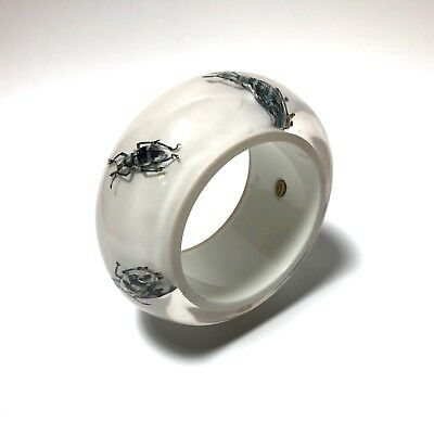Vintage Collectible White Lucite Metallic Bug Beetles Bangle Wide Bracelet #23