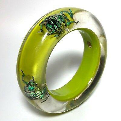 Vintage Collectible Green & Lucite Metallic Bug Beetles Bangle Wide Bracelet #24