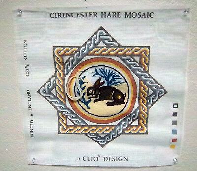 Clio Design Needlepoint canvas, Cirencester hare Mosaic Tapestry partially done