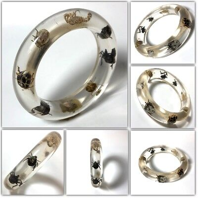 Vintage Collectible Transparent Lucite Metallic Bug Beetles Bangle Bracelet #27