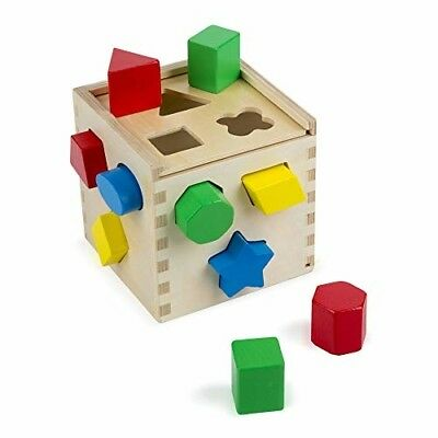 Melissa Doug Shape Sorting Cube - Classic Wooden Toy With 12 Shapes
