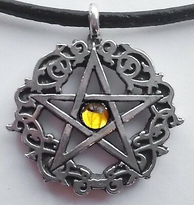 "Topaz Amber Celtic Pentacle Pagan Necklace 16"" inch Crystal Pewter Pendant"