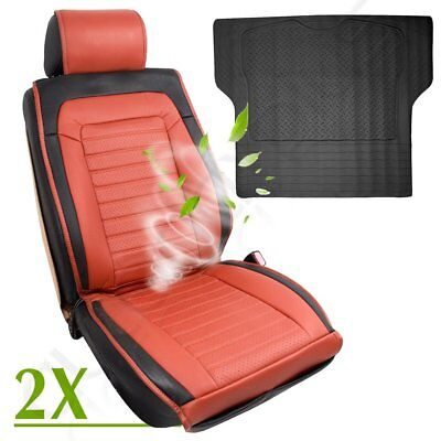 New Brown PU Leather Universal 2pc Car Seat Cushions W/Fan + 1pc Trunk Liner mat