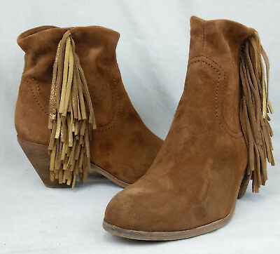 207780e4e6d0 Sam Edelman Sz 8 US Women s Louie Fringe Brown Suede Zip Western Ankle Boots