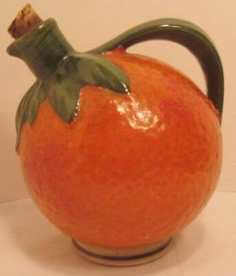 Old Antique Figural Pottery Liquor Bottle - Orange Fruit w/ Cork