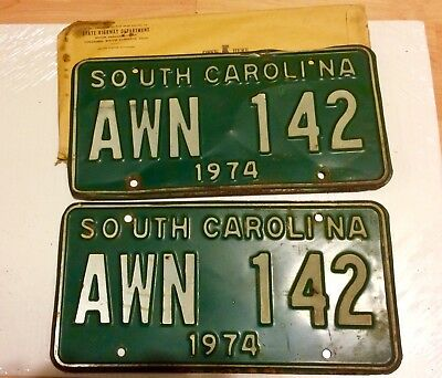 Two SC license plates 1974, pair for car