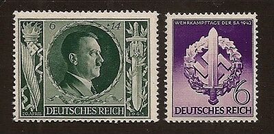 Original WW2 Nazi Germany 3rd Third Reich Hitler and 1942 SA wreath stamps MNH B