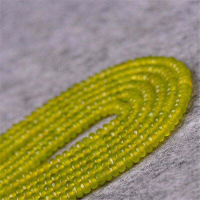 "1pcs 2X4MM olive jade Faceted Gemstone Loose bead 15"" Beaded Lots Spacer Charm"