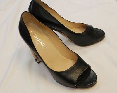 83bf44242f03 CHANEL BLACK PEEP Toe CC Silver Embossed Heels Shoes Pumps 40 9 9.5 ...