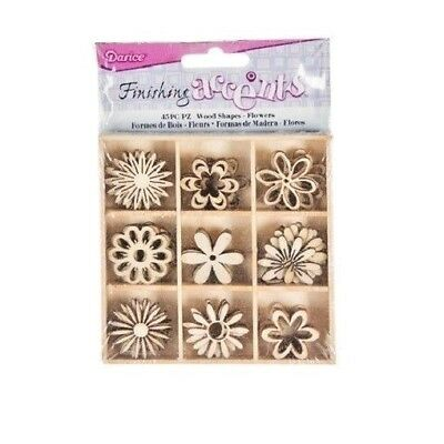 Darice FLOWERS Theme Mini Laser Cut Wood Shapes Spring Garden Mom 45 pieces