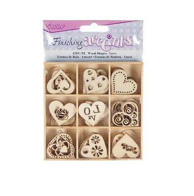 Darice HEARTS Theme Mini Laser Cut Wood Shapes Love Valentine Family 45 pieces