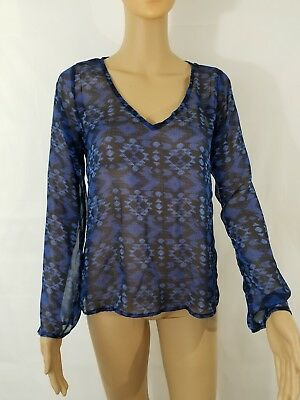 a511a920 Vintage Havana Women's Blouse Size Small Blue Sheer Bell Sleeve Top ...